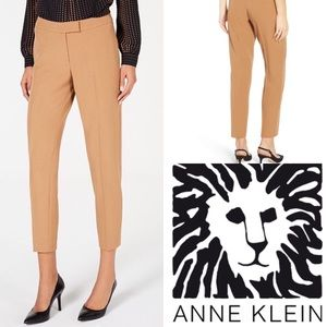 Anna Klein Straight-Leg Stretch Crepe Camel Pants